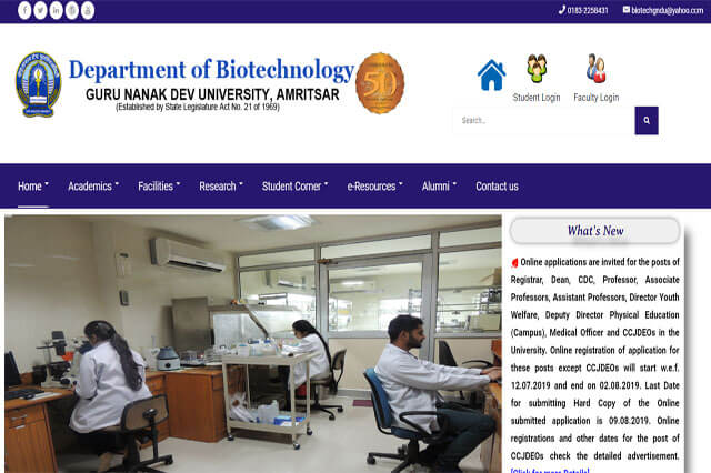 Department of Biotechnology, Guru Nanak Dev University